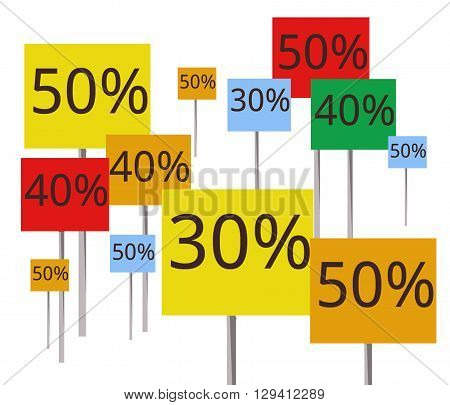 Placards with discounts in the range of 30 to 50 percent. The placards have different colors like red, yellow, orange, green and blue. They have different sizes. The background is white.