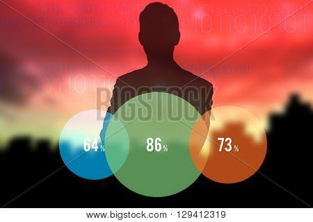 Portrait of smiling businessman standing hands folded against cityscape stencil on red sky