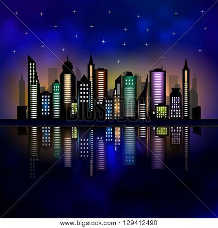 Skycrapers. City skyline. City vector illustration on dark background