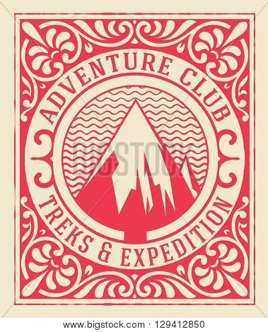 Adventure club card with floral details