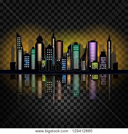 Skycrapers. City skyline. City vector illustration on checked background