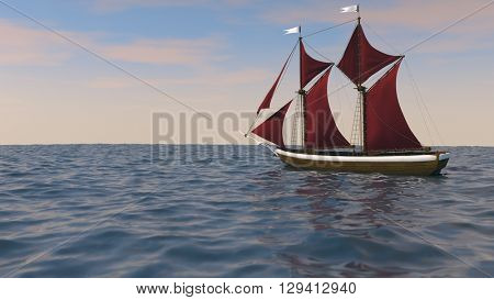 3d illustration of a ship with red sales in the ocean