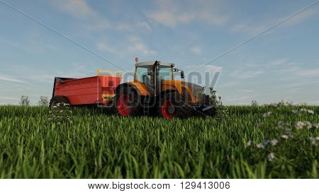 3d illustration of an orange tractor with fertilizer