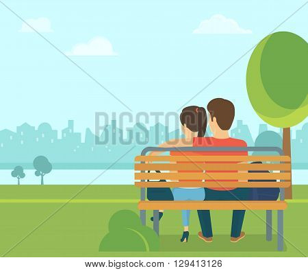 Couple outdoors in the park sitting on the bench and looking at the city. Flat romantic illustration of young people leisure time spending in the park in spring season