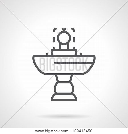 Cupped small fountain on a stand. Adorned exterior, decoration gardens, landscape and interior design elements. Simple black line vector icon.