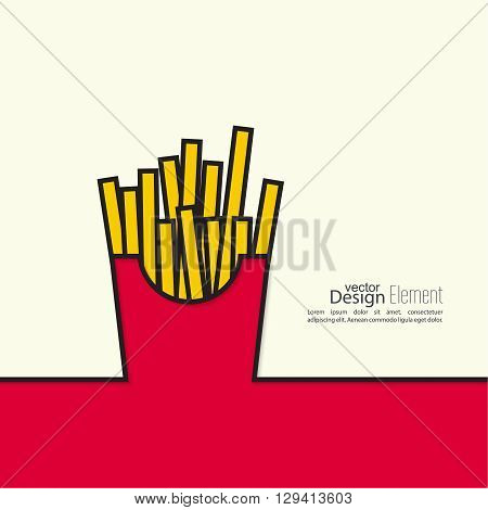 French Fries in paper Box. Fastfood vector Design. Abstract background with a shadow.
