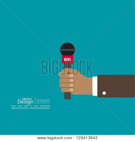 Microphone in hand journalist. Symbol breaking news on TV and radio. Live.