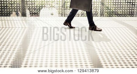 Business Man Going Walking to Work Concept
