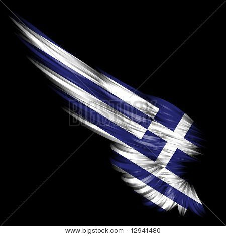 Abstract Wing With Greece Flag On Black Background