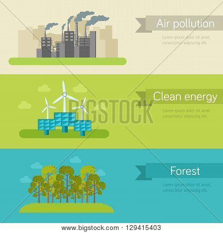 Ecological Horizontal Banners Vector Illustration Concept