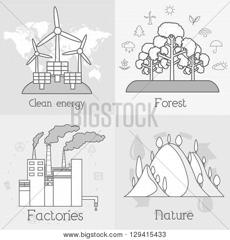 Flat Set Of Ecology, Environment, Green Clean Energy And Pollution Backgrounds. Vector Concept Illus