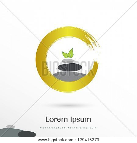 BEAUTIFUL VECTOR DESIGN OF THREE ROCKS WITH TWO LEAFS ON TOP ONSIDE A GOLDEN CIRCLE , ICON / LOGO