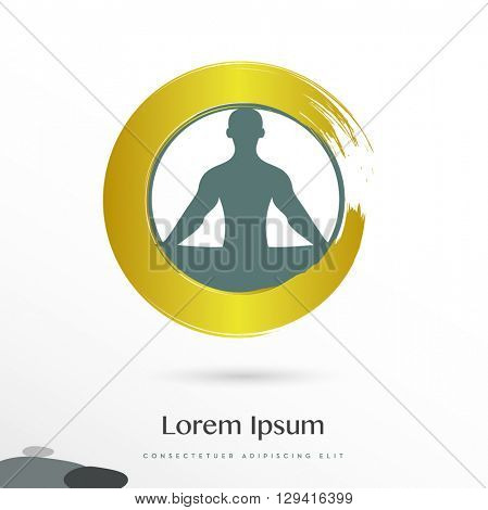 MAN SILHOUETTE IN YOGA POSITION INSIDE A GOLDEN CIRCLE , ICON / LOGO