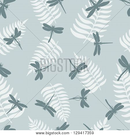 Seamless pattern with dragonflies  and leaf of ferns isolated on background.