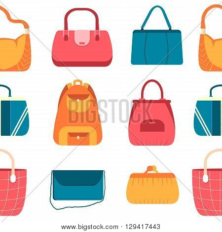 Elegance Fashion Handbags And Bags In Flat Seamless Pattern Concept Icons Set. Template For Website