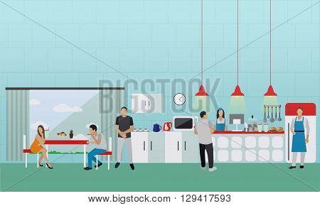 Vector banner with kitchen interior. People having lunch in office cafe.