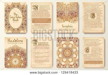 Set Of Old Fary Tail Flyer Pages Ornament Illustration Concept. Vintage Art Traditional, Islam, Arab