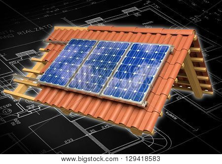Very high resolution 3d rendering of a roof model with solar panels.
