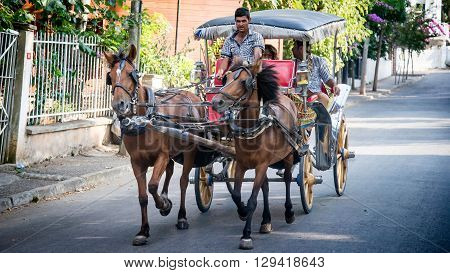 Istanbul, Turkey - August 10, 2013: Horse carts of Prince Islands in Istanbul, Turkey