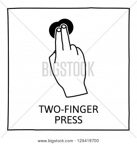 Doodle gesture icon. Two fingers long press. Touch screen hand gestures. Hand drawn. Isolated on white. Vector illustration.