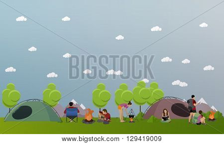 Vector set of summer recreation concept banners in flat style. People camping in park.