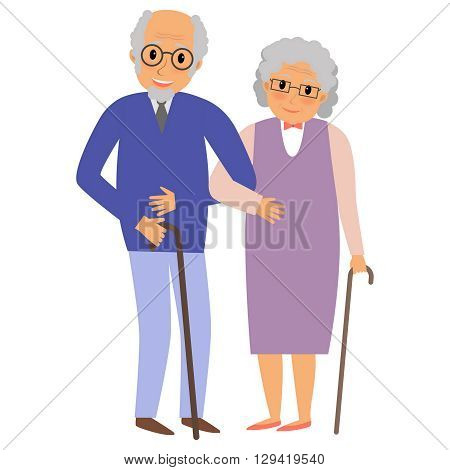 Happy grandparents couple holding hands. Happy grandparents day card. Vector illustration in cartoon style