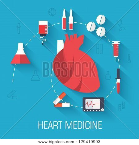 Flat Medical Laboratory Icons Illustration Infographic Concept. Vector Background Design. Template F