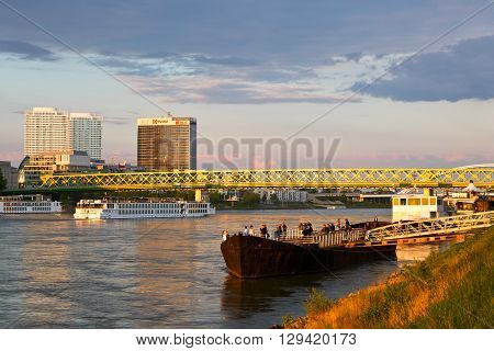 BRATISLAVA, SLOVAKIA - MAY 06, 2016: View of Bratislava and river Danube, Slovakia on May 06, 2016.