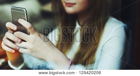Social Media Browsing Pretty Girl Youth Culture Concept