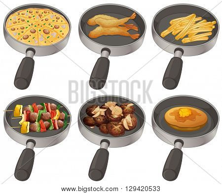 Different food in the frying pan illustration