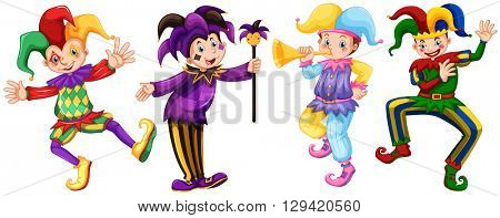 Four characters of jesters illustration