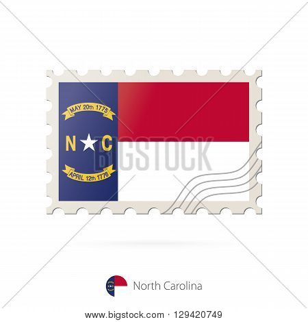 Postage Stamp With The Image Of North Carolina State Flag.