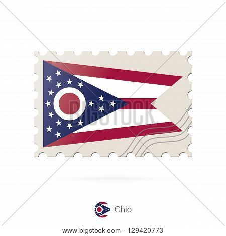 Postage Stamp With The Image Of Ohio State Flag.