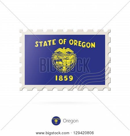 Postage Stamp With The Image Of Oregon State Flag.