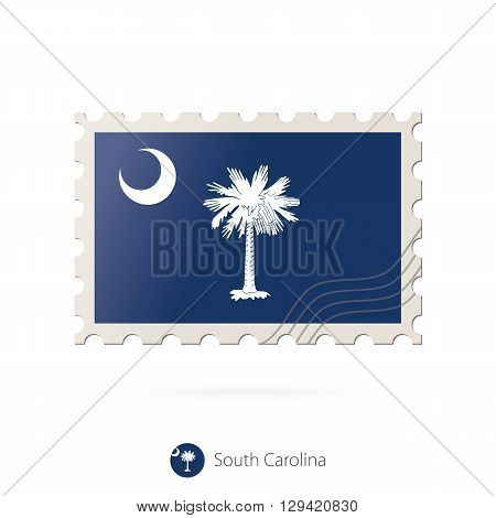 Postage Stamp With The Image Of South Carolina State Flag.