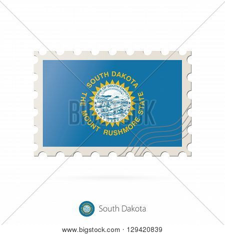 Postage Stamp With The Image Of South Dakota State Flag.