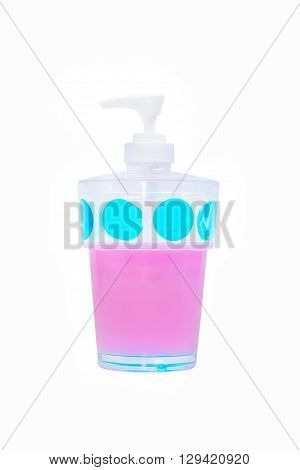 Plastic cup pump for liquid soap,  isolated