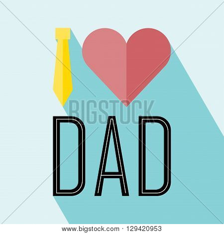Happy fathers day card vintage retro type font. Happy fathers day with Long Shadow. All in a single layer. Vector illustration. Elements for design.
