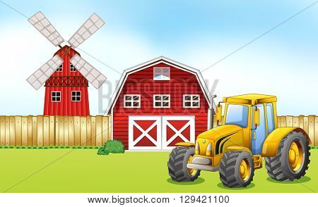 Tractor in the farmyard illustration