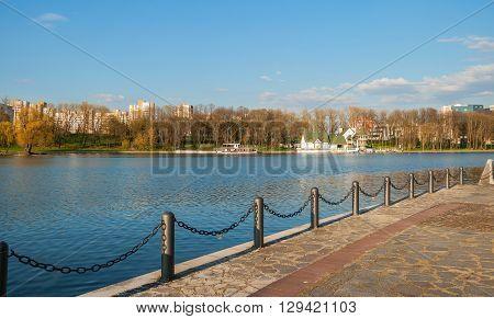 Quay of Komsomolsk ponds in Victory Park in Minsk