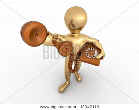 Hombre que sostiene un receptor del teléfono