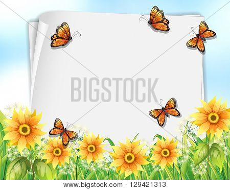 Paper design with butterflies and flowers illustration