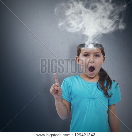 Cute girl shaking finger saying no to the camera against digital image of gray wall