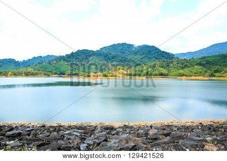 View of Klonghadsompan Reservoir in Ranong ,Thailand.