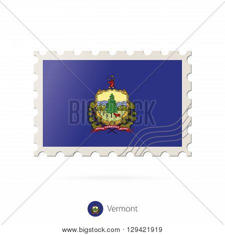 Postage Stamp With The Image Of Vermont State Flag.