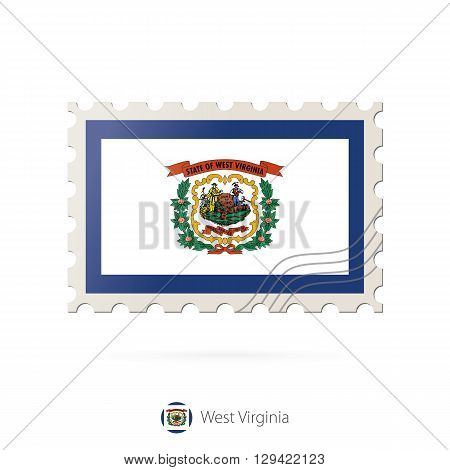 Postage Stamp With The Image Of West Virginia State Flag.