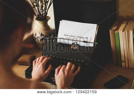 The word new career. chapter one against young woman using typewriter