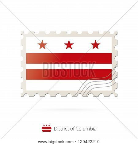 Postage Stamp With The Image Of District Of Columbia Flag.