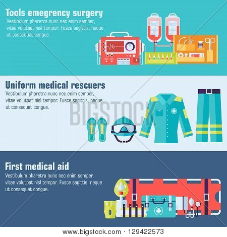 Medical Rescue Uniform And Set First Aid Help Equipment And Instruments Banners. On Flat Style Backg