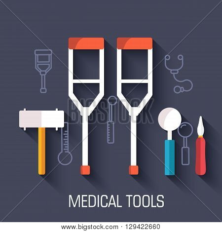 Flat Medical Equipment Set Icons Crutches Concept Background. Vector Illustration Design For Web And